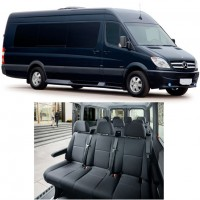 Luxury and comfort is standard for our 15 seats-Sprinters with plenty of head room and luggage storage